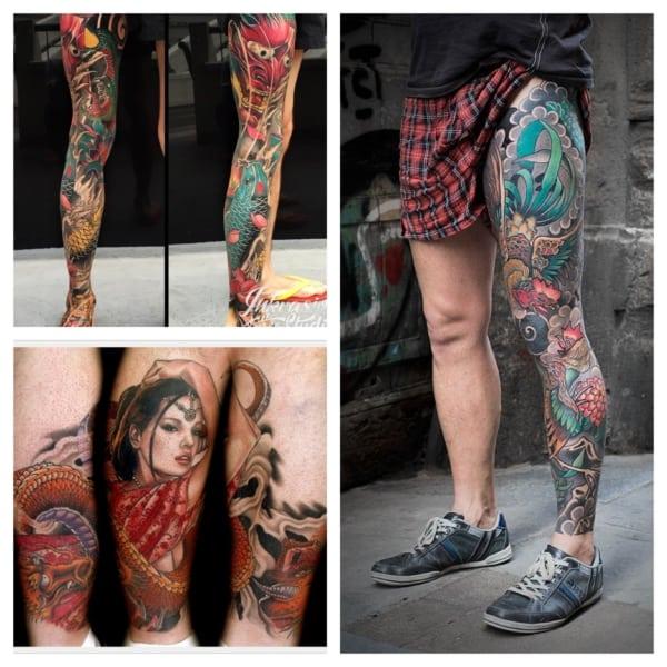 tatuagens na PERNA MASCULINA FECHADA coloridas