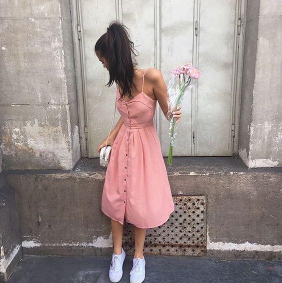 foto tumblr com vestido midi