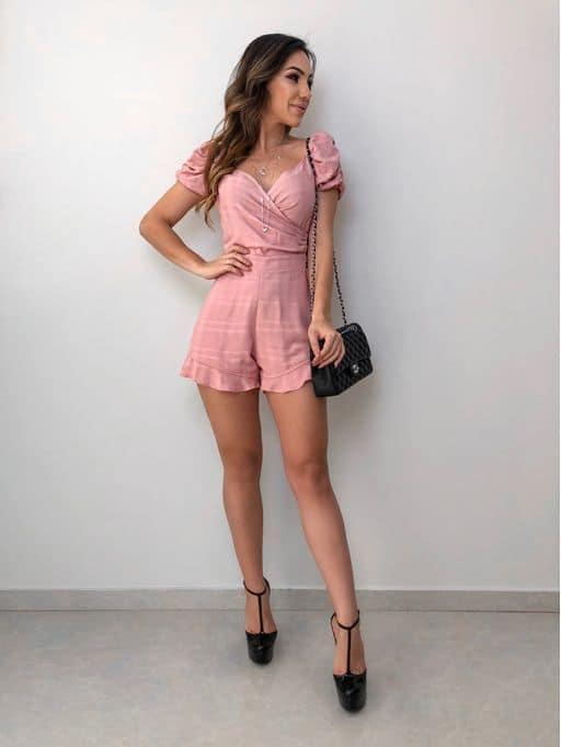 look com macaquinho rosa