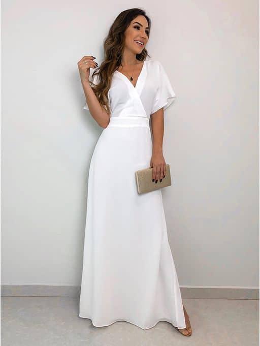 vestido de noiva longo para casamento no cartório
