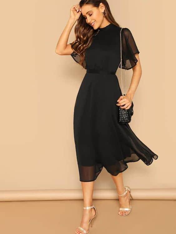 look de convidada de casamento com vestido preto