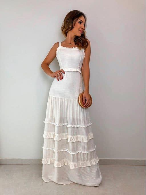 vestido longo e simples para casamento civil