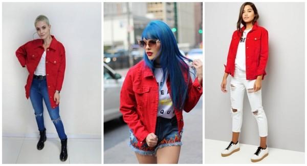 looks com jaqueta jeans vermelha