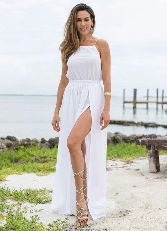vestido longo com fenda para casamento civil