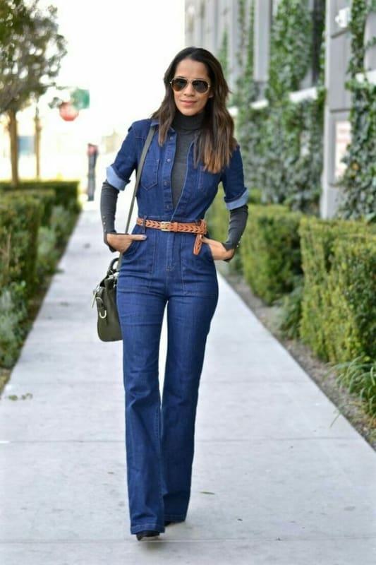 como usar macacão jeans longo com cinto