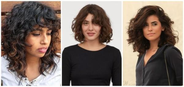 cabelo ondulado médio com franja