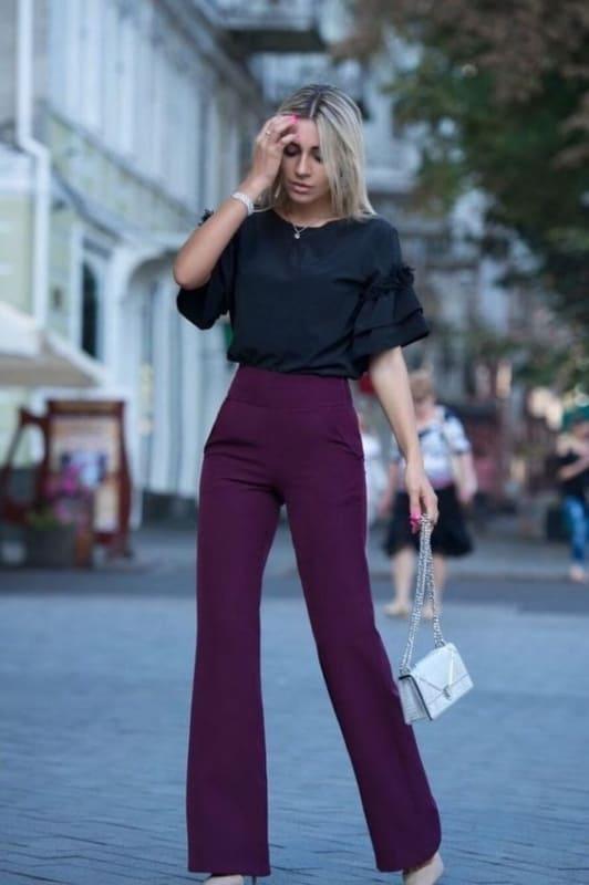 look com calça social feminina flare