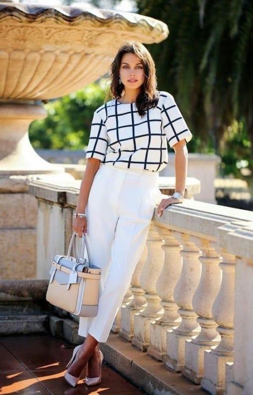 look formal com calça social branca