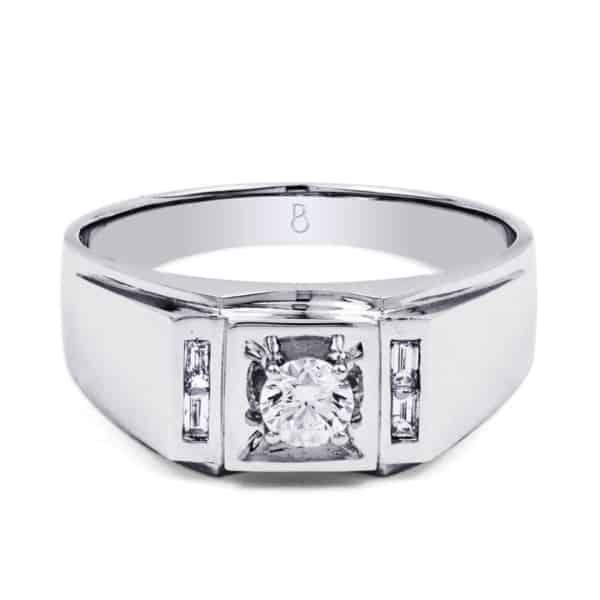 anel com diamante para homem