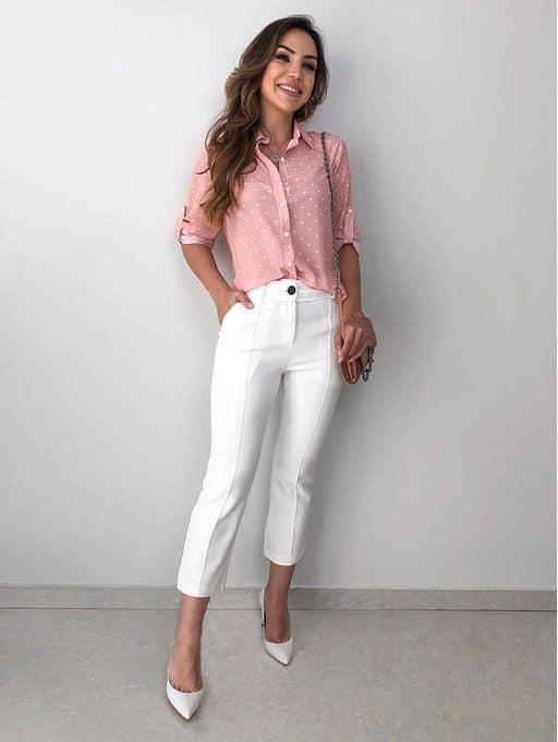 look com calça social branca com camisa