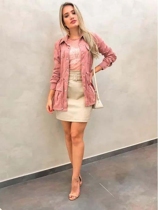 look feminino com saia e parka rosa