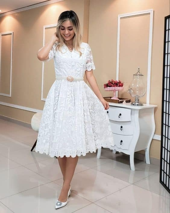vestido midi para noiva evangélica