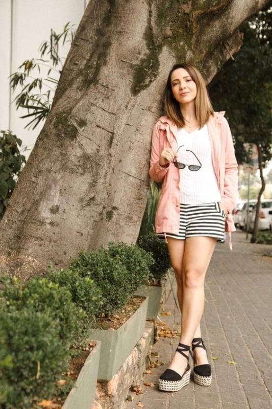 look casual com parka rosa