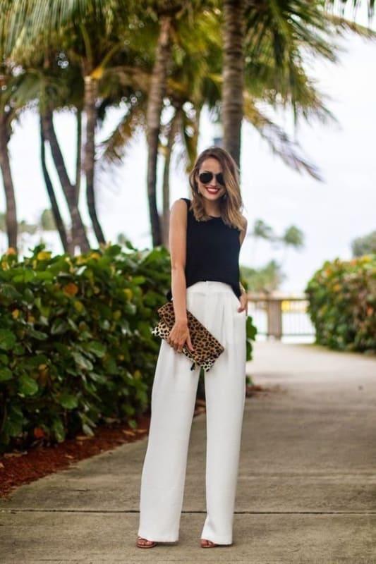 look feminino com calça social branca