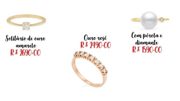 modelos e preços de anel de diamante
