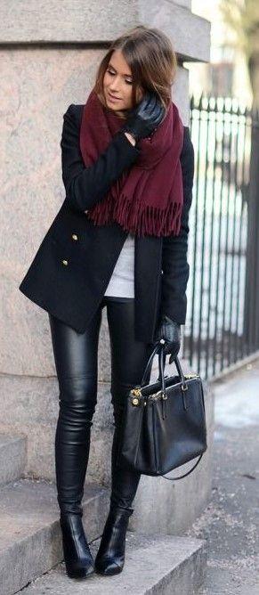 look de inverno com casaco preto