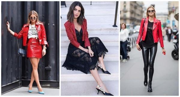 looks com jaqueta de couro vermelha