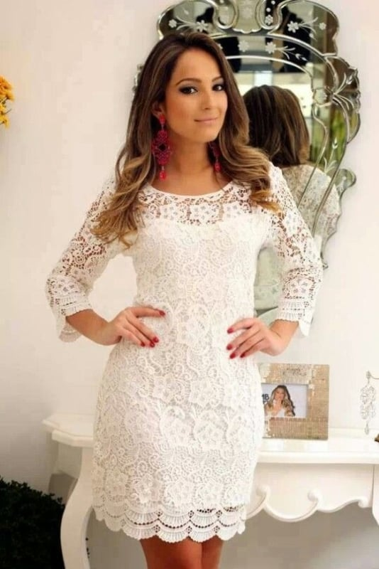 vestido em renda para noiva de casamento civil
