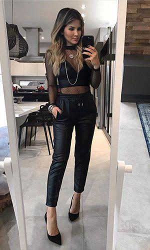 look primeiro encontro com calça preta