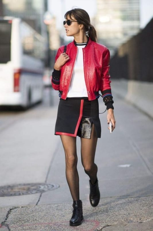 look feminino com jaqueta bomber