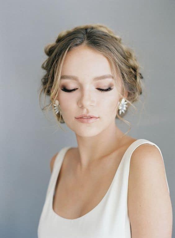 maquiagem suave para noiva de casamento durante o dia