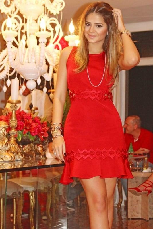look de natal com vestido vermelho