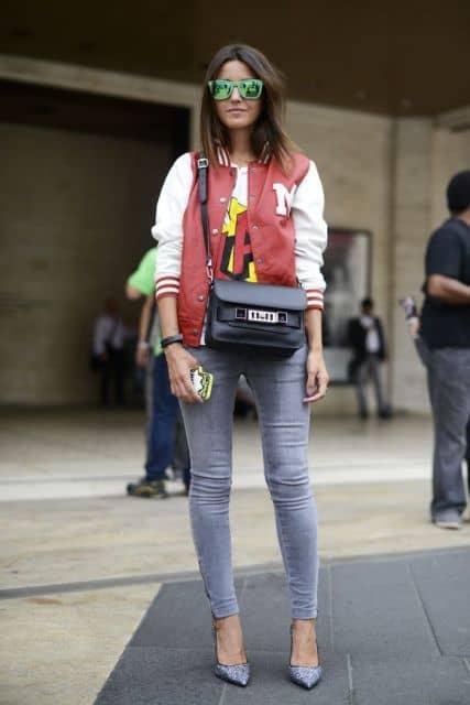 look com jaqueta college vermelha e branca
