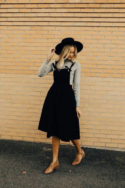look tumblr com vestido midi e sobreposição