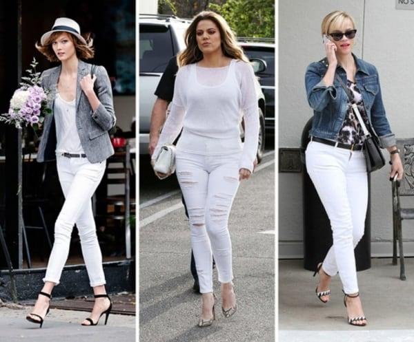 A calça branca skinny é aposta de várias famosas