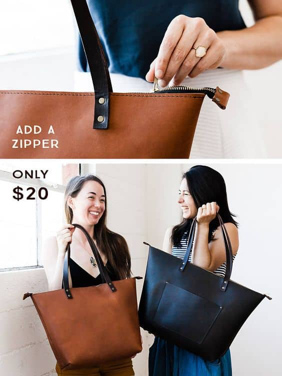 Alguns modelos de bolsas tote possuem zíper para fechar