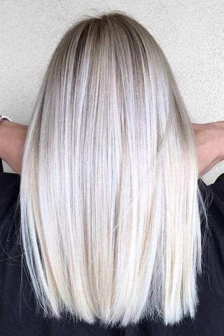 Balaiagem loiro Platinado em cabelo liso30