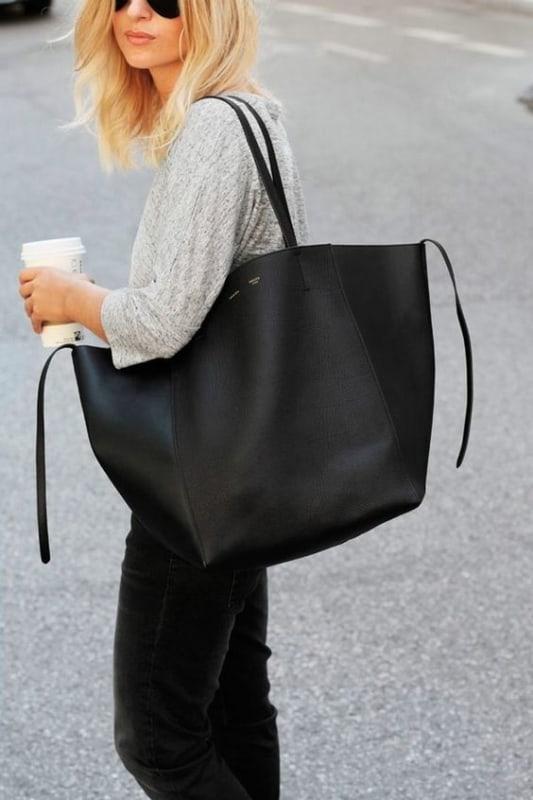 Bolsa preta tote perfeita para o dia a dia