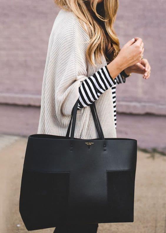 Bolsa tote preta bem fashion