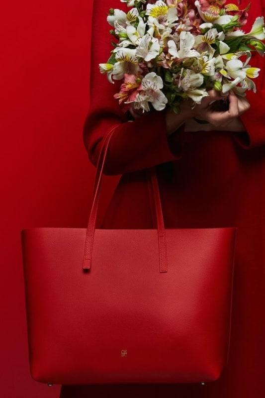 Bolsa vermelha de couro tipo sacola