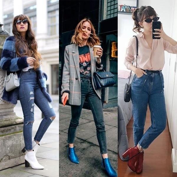 Calça jeans combina com botas de várias cores