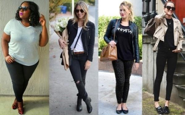 Calças pretas com camisetas