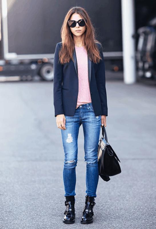 Combinação básica e estilosa de bota com skinny jeans