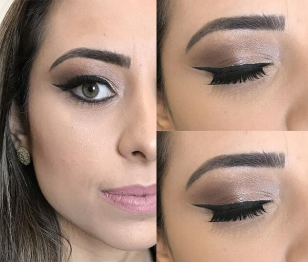 Detalhe de maquiagem simples para casamento de dia