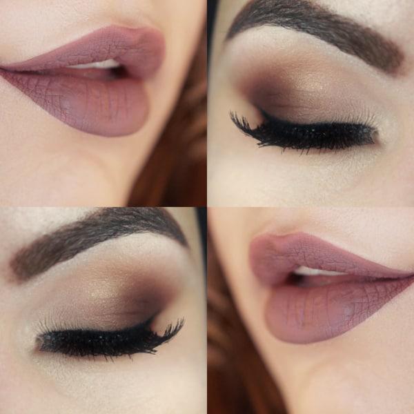 Detalhes de olhos e boca para maquiagem de dia