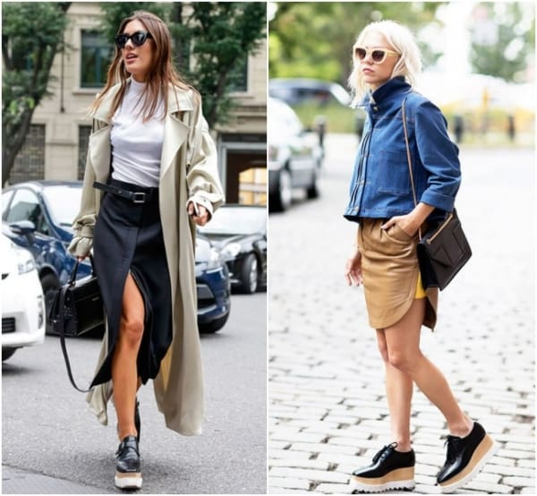 Dois looks com saia e oxford preto flatform