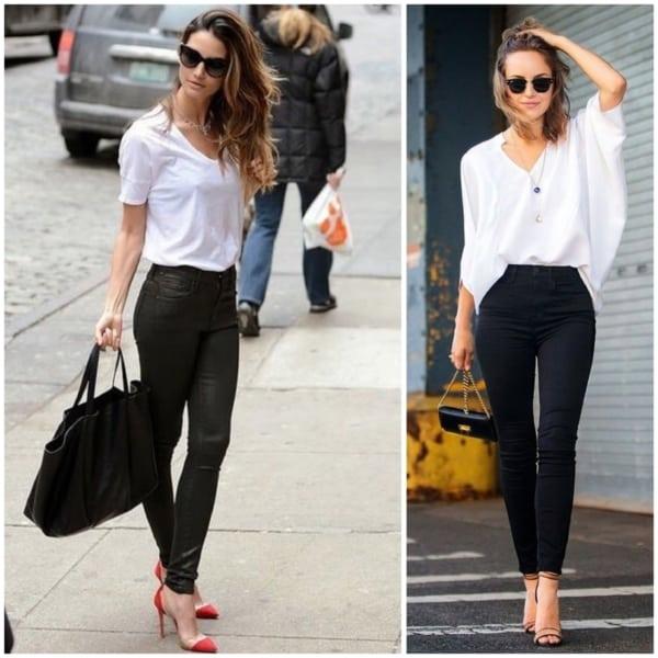 Dois looks com salto alto e calça skinny
