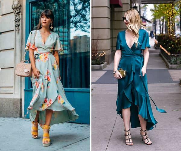 Dois looks de verão com Modelos de vestidos transpassados