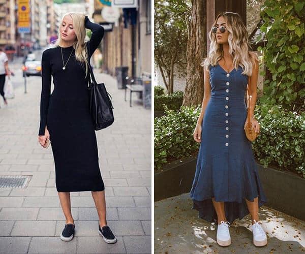 Dois modelos de vestidos midi