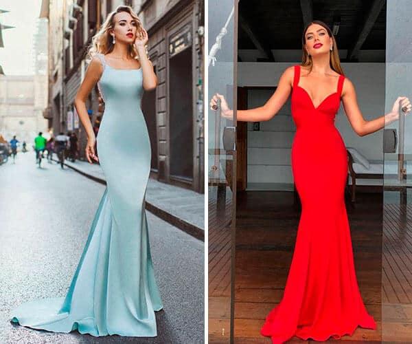 Dois modelos de vestidos sereias lisos