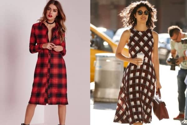Dois modelos de vestidos xadrez