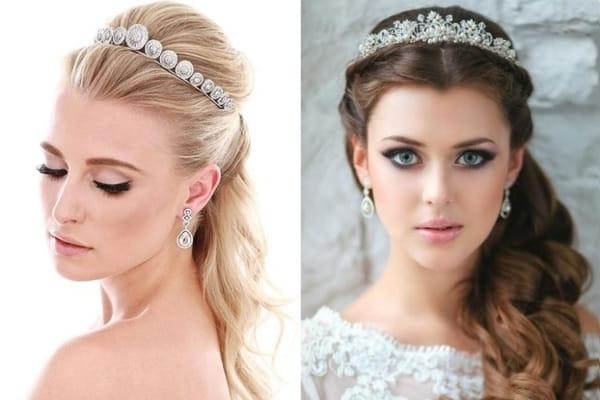 Dois penteados presos diferentes com coroa