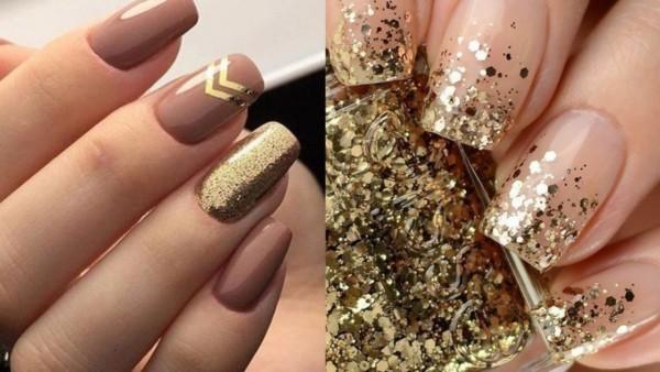 Duas ideias de unhas douradas para madrinhas de casamento
