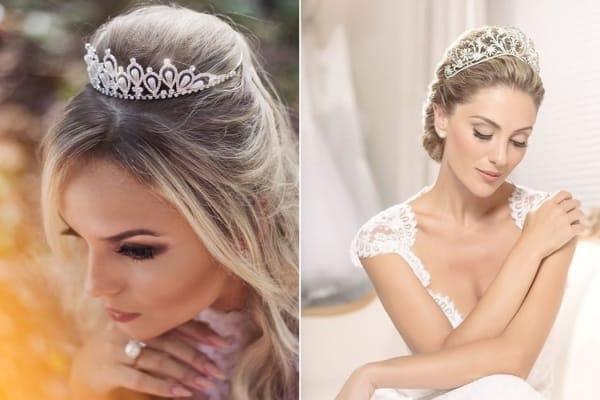 Duas opções de penteados com coroa de noiva