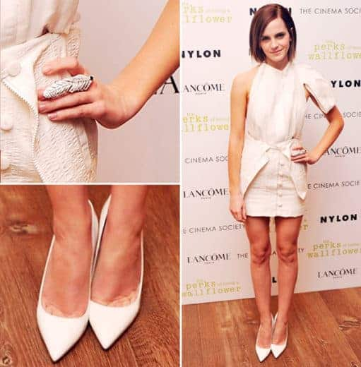 Emma Watson com vestido off white curto