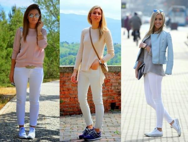 Ideias de looks com calças brancas skinny e tênis casuais